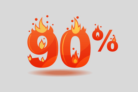 ninety percent discount, numbers on fire. Flat Vector Illustration