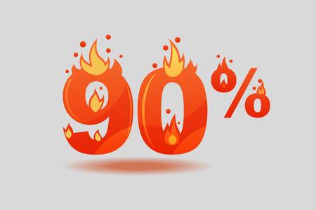 quatre-vingt-dix pour cent de réduction, chiffres en feu. Illustration vectorielle plane