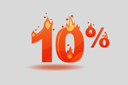 Ten percent discount, numbers on fire. Flat Vector Illustration