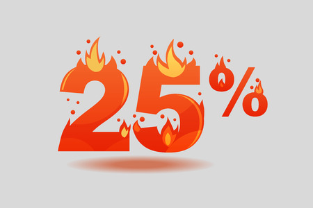 twenty five percent discount, numbers on fire. Flat Vector Illustration  イラスト・ベクター素材