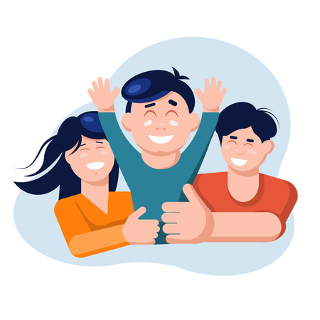 Family concept. Mother and father hold son hands and laugh. Flat Vector Illustration