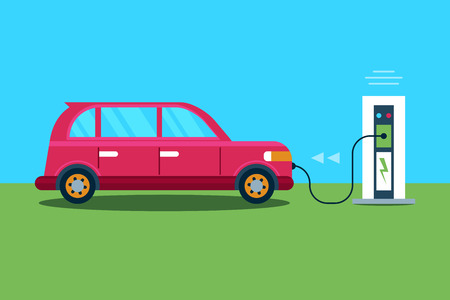 Electric car charging at the charger station. Ecological transport concept. Flat Vector Illustration  イラスト・ベクター素材