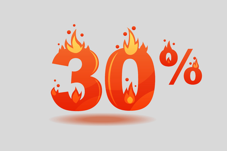 thirty percent discount, numbers on fire. Flat Vector Illustration  イラスト・ベクター素材