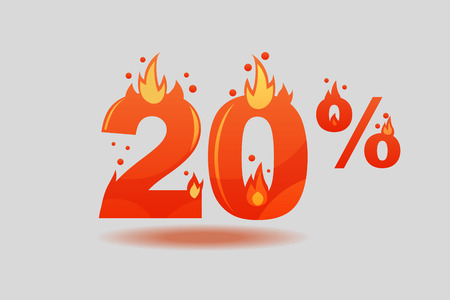 twenty percent discount, numbers on fire. Flat Vector Illustration