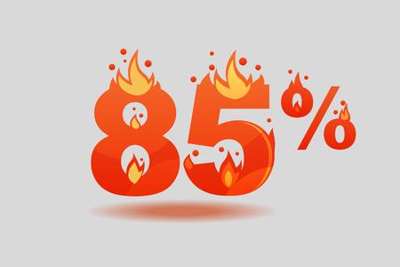 eighty five percent discount, numbers on fire. Flat Vector Illustration Illusztráció