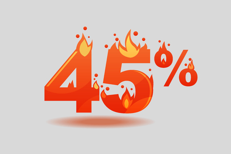 forty five percent discount, numbers on fire. Flat Vector Illustration
