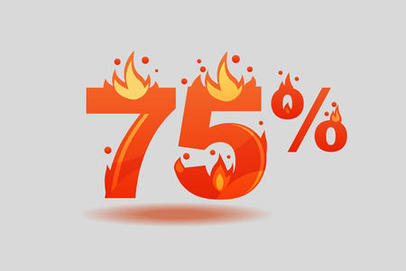 seventy five percent discount, numbers on fire. Flat Vector Illustration