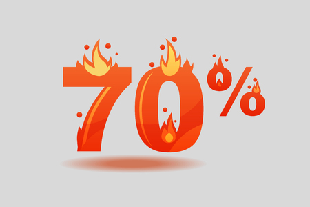 seventy percent discount, numbers on fire. Flat Vector Illustration  イラスト・ベクター素材