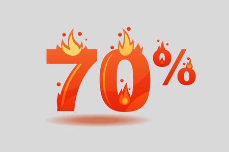 seventy percent discount, numbers on fire. Flat Vector Illustration Stock fotó - 127016052