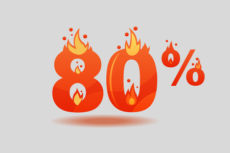 eighty percent discount, numbers on fire. Flat Vector Illustration Stock fotó - 127016053
