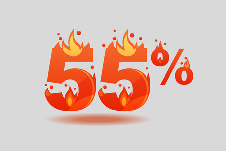 fifty five percent discount, numbers on fire. Flat Vector Illustration