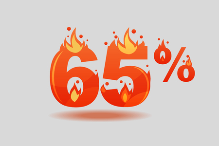 sixty five percent discount, numbers on fire. Flat Vector Illustration