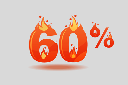 sixty percent discount, numbers on fire. Flat Vector Illustration