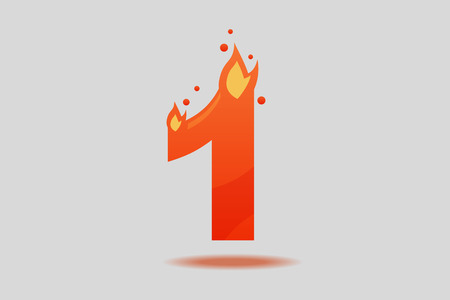 The figure is one. Number 1, decorated with red flames and sparks. Flat Vector Illustration  イラスト・ベクター素材