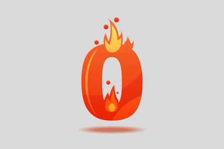Number zero, decorated with red flames and sparks. Flat Vector Illustration  イラスト・ベクター素材