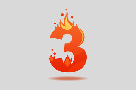 Number three, decorated with red flames and sparks. Flat Vector Illustration  イラスト・ベクター素材