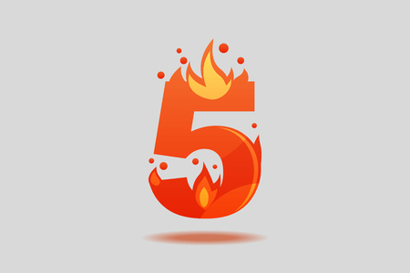 Number five, decorated with red flames and sparks. Flat Vector Illustration