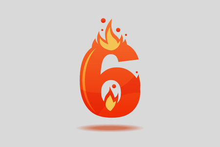 Number six, decorated with red flames and sparks. Flat Vector Illustration