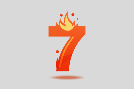 Number seven, decorated with red flames and sparks. Flat Vector Illustration