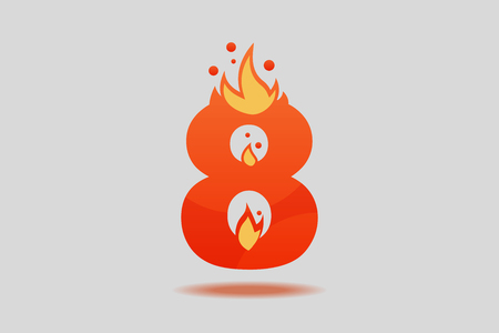Number eight, decorated with red flames and sparks. Flat Vector Illustration  イラスト・ベクター素材