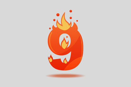 Number nine, decorated with red flames and sparks. Flat Vector Illustration  イラスト・ベクター素材