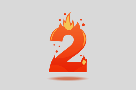 Number two, decorated with red flames and sparks. Flat Vector Illustration