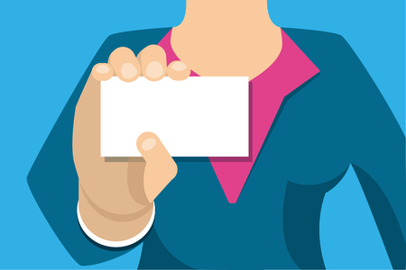 Woman close-up holds out a business card. Hand with a business card, white background, place for text. Flat Vector Illustration