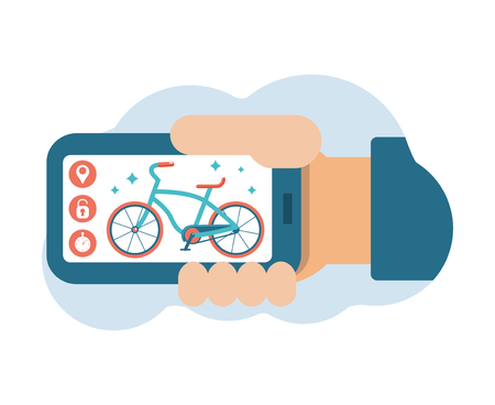 Bike sharing system. Smartphone application. A hand is holding a phone with a picture of a bicycle. Mobile application icons. Flat vector illustration.  イラスト・ベクター素材