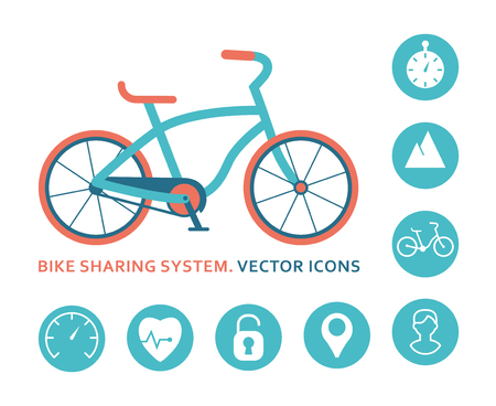 Bike sharing system. Vector icons for mobile application. Bike closeup and set of signs. Flat vector illustration.  イラスト・ベクター素材
