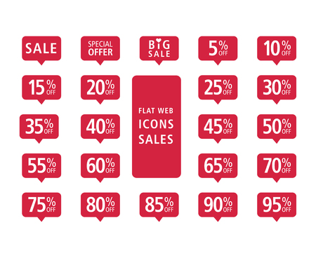 Set of red vector flat web icons on sales theme. Signs in the style of social networking icons