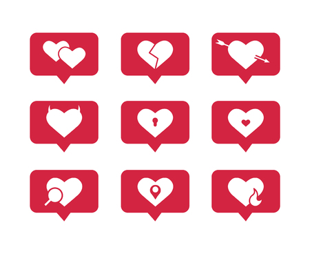 Set of flat vector icons of hearts Illustration