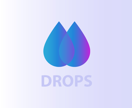 Two water drops Design element logo icon Çizim