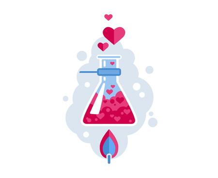 Love Formula. Chemical flask is heated with a spirit lamp. Hearts fly out of the flask. Flat Vector Illustration