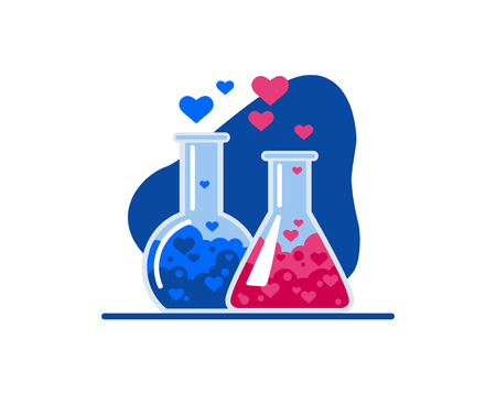 Hearts fly out of two glass flasks, a chemical reaction occurs. Symbol of love. Flat Vector Illustration