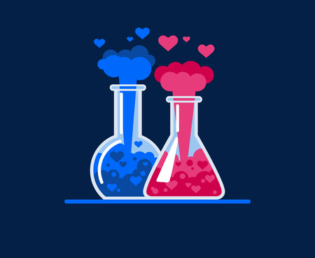 Chemical explosion in a test tube. Hearts fly out of two glass flasks, a chemical reaction occurs. Symbol of love. Flat Vector Illustration