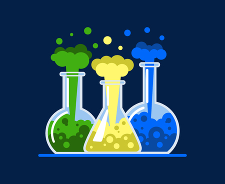 Three laboratory flasks. Test tubes with a multi-colored liquid. A chemical reaction occurs. Flat Vector Illustration