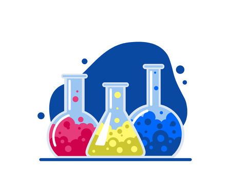 Three laboratory flasks. Glass flasks with multi-colored chemical liquids. Flat Vector Illustration