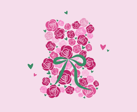 Teddy bear of roses. Toy of flowers. A bouquet of roses in the shape of a bear. Pink roses with green ribbon. Flat Vector Illustration