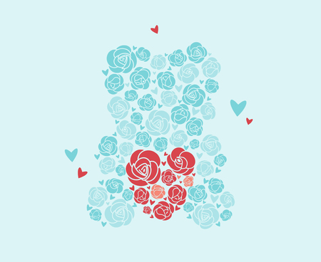 Teddy bear of roses. Bear holds heart . Toy of flowers. A bouquet of roses in the shape of a bear. A gift for a girl, a woman for her birthday, March 8. Declaration of love. Flat Vector Illustration