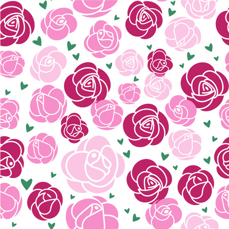 Seamless pattern. Pink roses and green hearts on a white background. Vector illustration