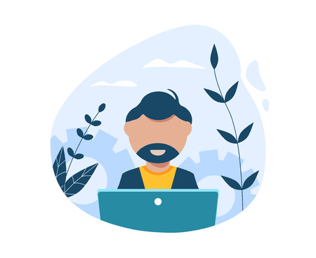 A professional programmer works at a computer. Modern Flat Vector Illustration Illustration