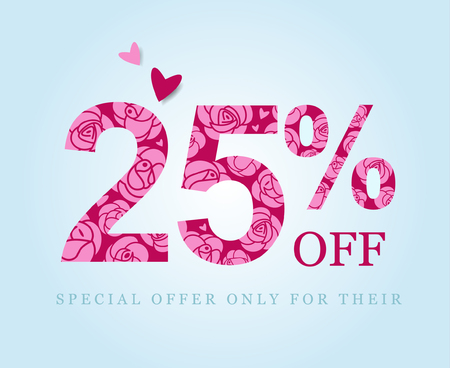 25 off. twenty five percent discount. Spring or summer sale. Figures decorated with roses. Pink flowers on a red background. Vector illustration