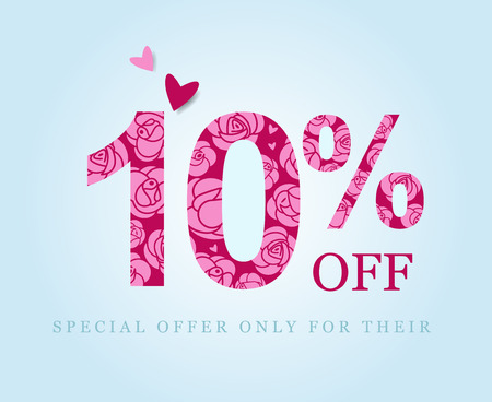 10 off. ten percent discount. Spring or summer sale. Figures decorated with roses. Pink flowers on a red background. Vector illustration 写真素材 - 124443292