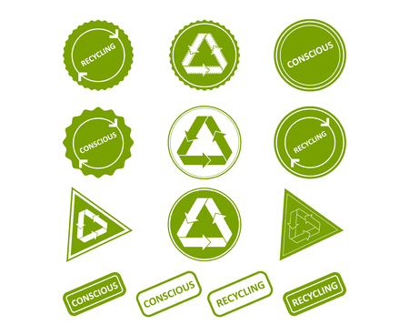 Recycling. Conscious consumption. Set of stamps, stickers for recycled products, price tags, web sites, shop. Vector illustration