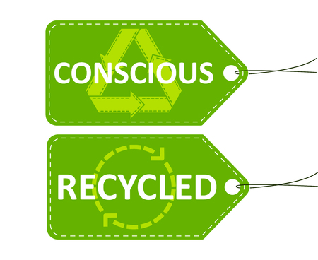 Price tags for the store. Conscious consumption. Recycled clothing. Recycling. Green tags on white background. Vector illustration