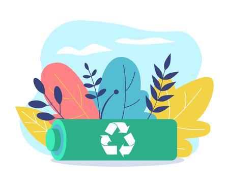 Battery recycling. Reclining battery with recycling icon. The image of the battery on the background of flowers and leaves. Recyclable icon. Ecological concept. Flat Vector Illustration Illustration