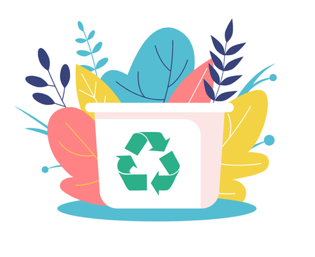 Recyclable container. White waste bin, green recycled symbol. Buck stands on the background of nature among the flowers and leaves. Flat Vector Illustration