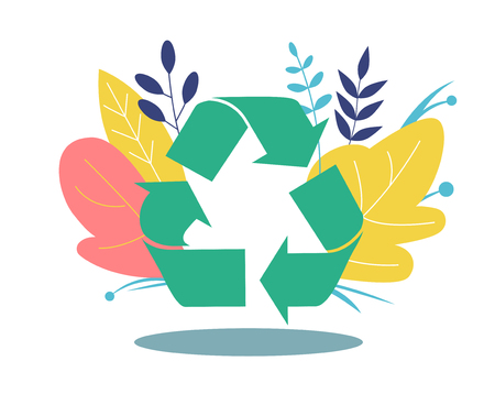 Recycling symbol. Icon in flat style. Icon recycling on the background of flowers and leaves. Flat Vector Illustration Иллюстрация