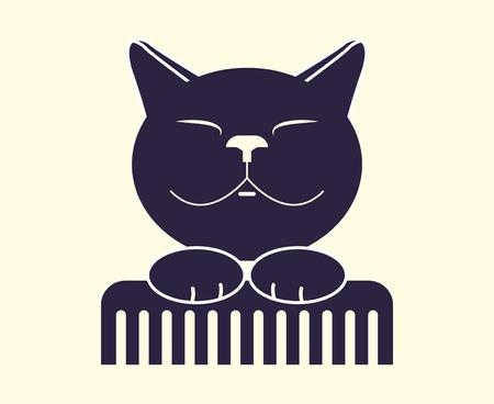 Cat grooming. Zoo Salon, monochrome flat icon