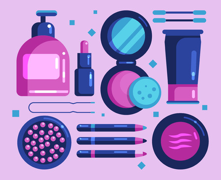 A set of cosmetics for the face. Flat vector icons, objects for makeup and hygiene. Soap, cream, cotton swabs, lipstick, powder, eyeshadow, pencils, blush. Flat Vector Illustration Çizim